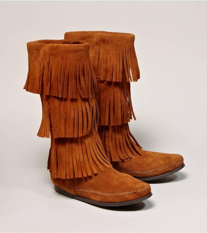 Minnetonka 3-Layer Fringe Calf Hi Boot