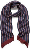 Mulberry College Stripe Scarf Navy Silk Twill