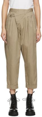 R 13 Tan Triple Pleat Cross-Over Trousers