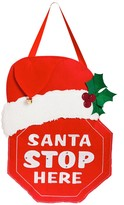 Santa Stop Here Lighted Felt Door Decor