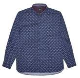 Burton Mens Big & Tall Navy Long Sleeve Leaf Print Shirt