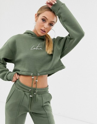 Couture The Club cropped motif drawstring hoody in khaki