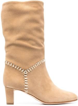 Alberta Ferretti Contrast-Stitch Suede Boots
