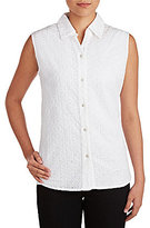 Allison Daley Sleeveless Floral Eyelet Button Front Blouse