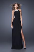 La Femme 19930 Embellished High Halter Sheath Dress