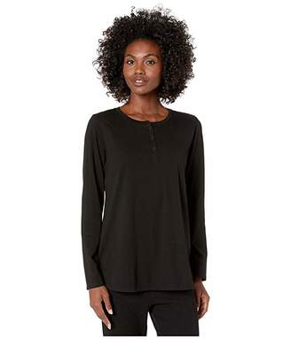 Eileen Fisher Organic Cotton Jersey Crew Neck Top (Black) Women's Clothing