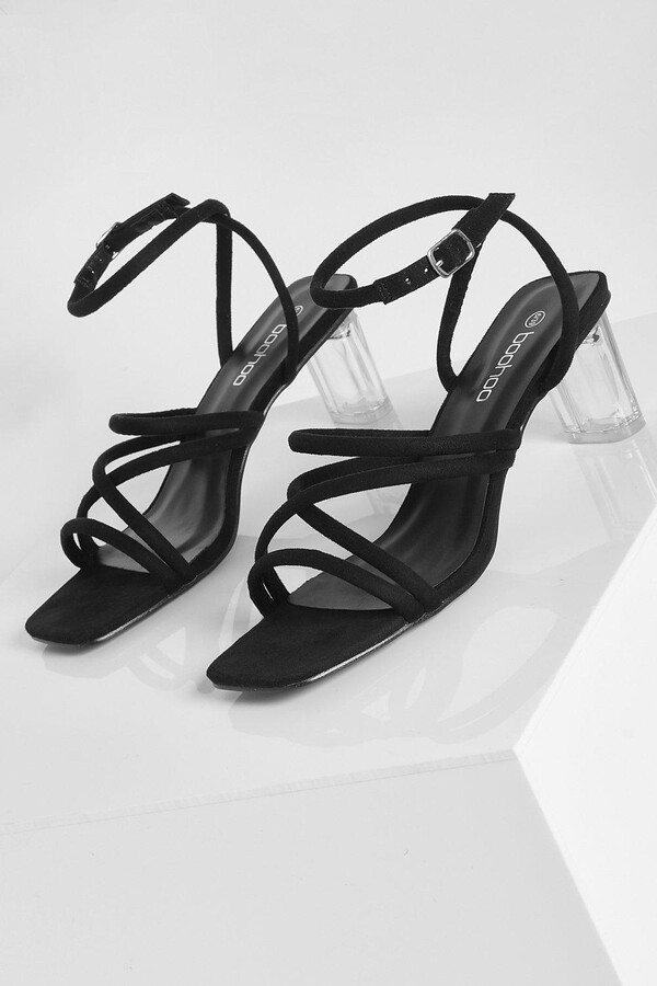 Thumbnail for your product : boohoo Low Strappy Clear Heel Sandal