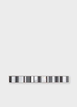 Men's Black Stripe Mother-Of-Pearl Tie Clip