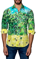Jared Lang Spread Collared Forest Print Sportshirt