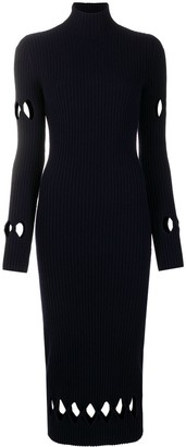 Victoria Beckham Cut-Out Ribbed Mid-Length Dress