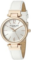 Stuhrling Original Women's 956.03 Symphony Gold-Tone Watch with White Genuine Leather Band