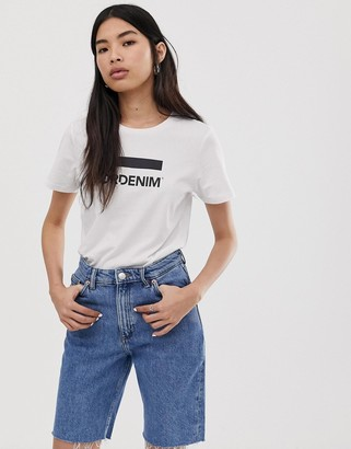 Dr. Denim Luna organic cotton logo t-shirt-White