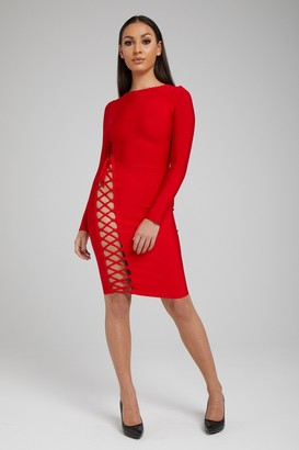 Made By Issae The 'Marjorie' Red Long Sleeve Cut-Out Bandage Dress