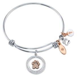 "Unwritten Best Friends"" Paw Print Bangle Bracele in Stainless Steel & Rose Gold-Tone"