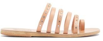 Ancient Greek Sandals Niki Crystal-studded Leather Slides - Tan Silver