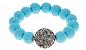 Forever Creations Usa Inc. Forever Creations Silver 21.5 Ct. Tw. Diamond & Turquoise Stretch Bracelet