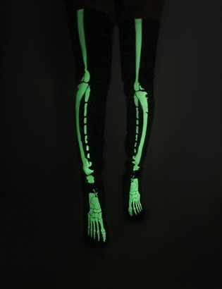 Public Desire Uk Spooked Glow in the Dark Skeleton Over the Knee Boots