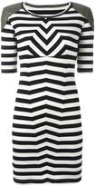 MM6 MAISON MARGIELA shoulder detail striped dress - women - Cotton/Polyurethane/Spandex/Elastane/Viscose - M