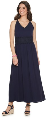 Nina Leonard Women's Crochet Trim Maxi Dress