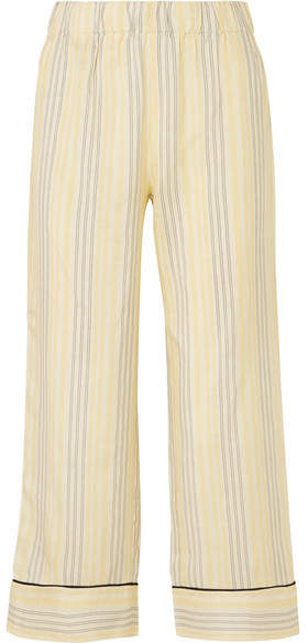Ganni Bergamot Striped Silk Straight-leg Pants - Pastel yellow