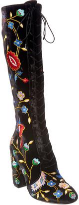 Alice + Olivia Vesey Gloria Tapestry Embroidered Velvet Boot