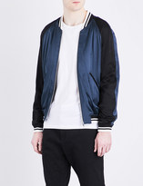 Sandro Striped-trim satin bomber jacket