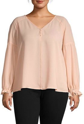 1 STATE Plus Solid V-Neck Top