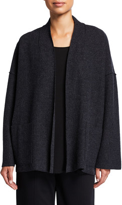 Eileen Fisher Petite Boiled Wool High-Collar Jacket