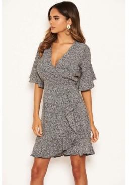 AX Paris Women's Ditsy Printed Frill Hem Wrap Dress