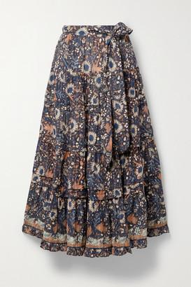 Ulla Johnson Amelia Tiered Floral-print Cotton-blend Voile Midi Skirt - Midnight blue