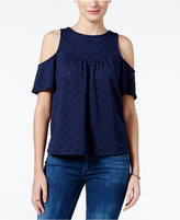 Amy Byer Juniors' Off-The-Shoulder Eyelet Top