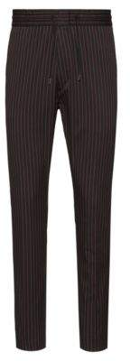 HUGO Tapered-fit pinstripe trousers with drawstring waistband