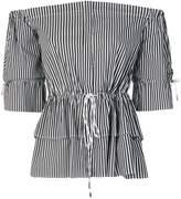 Christian Pellizzari frilled strapless blouse