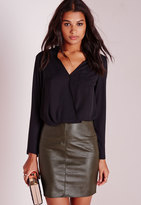 Missguided Faux Leather Mini Skirt Khaki