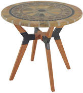 OUTDOOR INTERIORS Outdoor Interiors 30 in. Sandstone Bistro Table with Eucalyptus and Metal Base