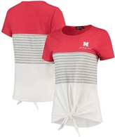 Unbranded Nebraska Cornhuskers Why Knot Colorblocked Striped Knotted T-Shirt - Scarlet