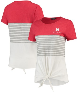 Nebraska Cornhuskers Why Knot Colorblocked Striped Knotted T-Shirt - Scarlet