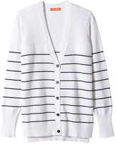 Joe Fresh Women's Stripe V-Neck Cardi, White (Size XS)