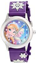 Disney Kids' W002034 Elsa and Anna Stainless Steel Watch with Purple Plastic Band