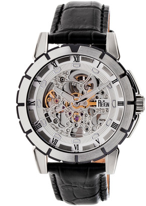 Reign Men's Watches Silver - Stainless Steel Philippe Leather-Strap Automatic Skeleton Watch