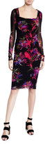 Fuzzi Floral Square-Neck Long-Sleeve Fitted Dress w/ Embroidery