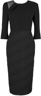 Roland Mouret Palatine black jacquard midi dress