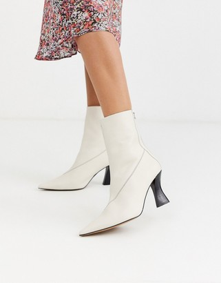 Topshop heeled boots with point toe in buttermilk