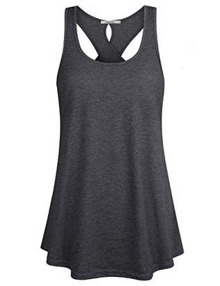 ZKHOECR Athletic Clothes Women Sexy Tops Juniors U Neck Sleeveless Drape Hem Swing Tunic Sports Working Out Ribbed Cross Back Tank Shirts Casual Activewear M