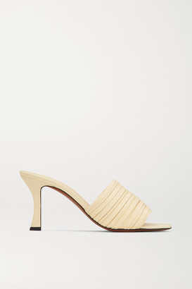 Neous Sham Ruched Leather Mules - Pastel yellow