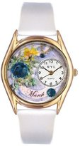 Whimsical Watches Women's C0910003 Classic Gold Birthstone: March White Leather And Goldtone Watch