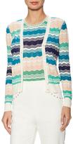 M Missoni Knit Cotton Multicolor Chevron Cardigan