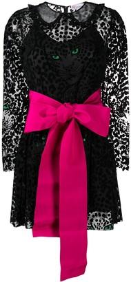 RED Valentino Cat Print Flocked Mini Dress
