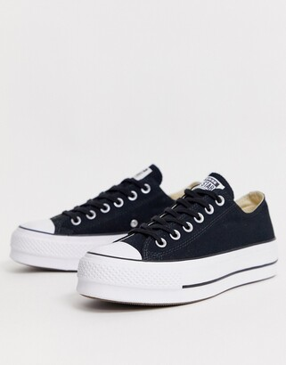 Converse Chuck Taylor All Star Ox canvas platform sneakers in black