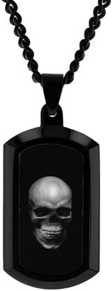Brilliance+ Brilliance Fine Jewelry Mens Stainless Steel Skull Hologram Dog Tag Pendant Necklace Chain